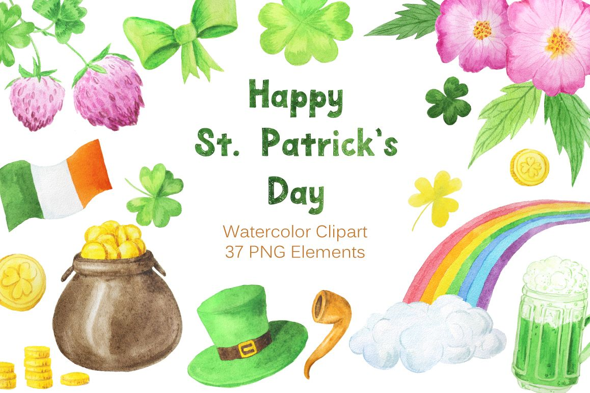 Watercolor St Patricks Day Collection example image 1