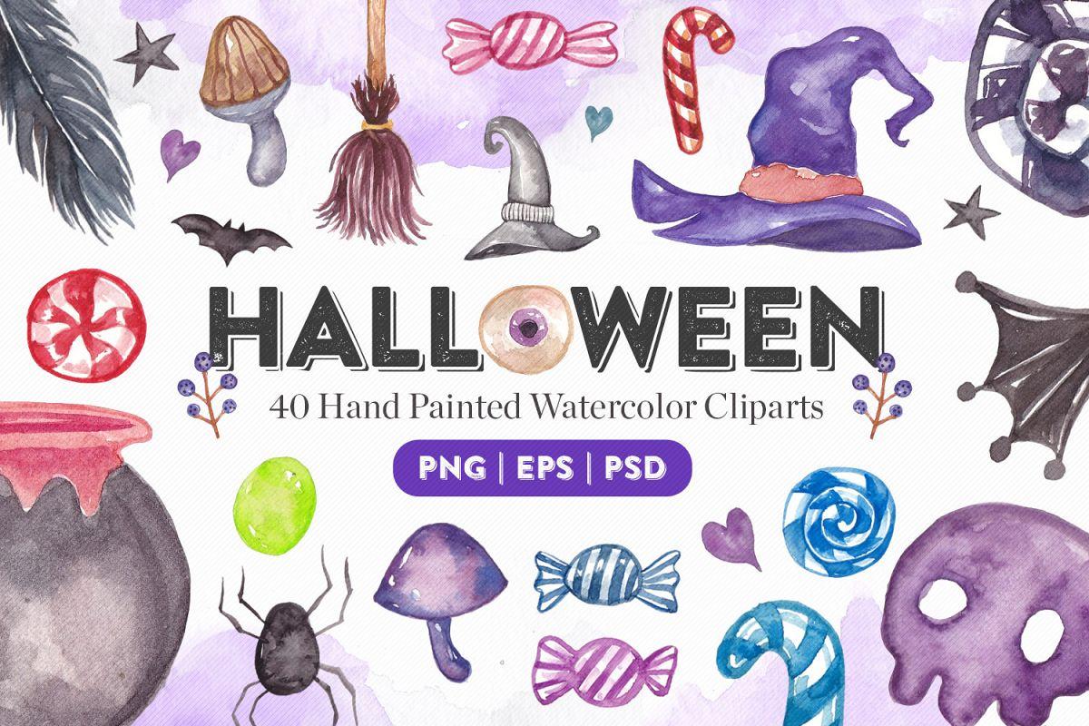 Halloween Watercolor Elements Bundle example image 1