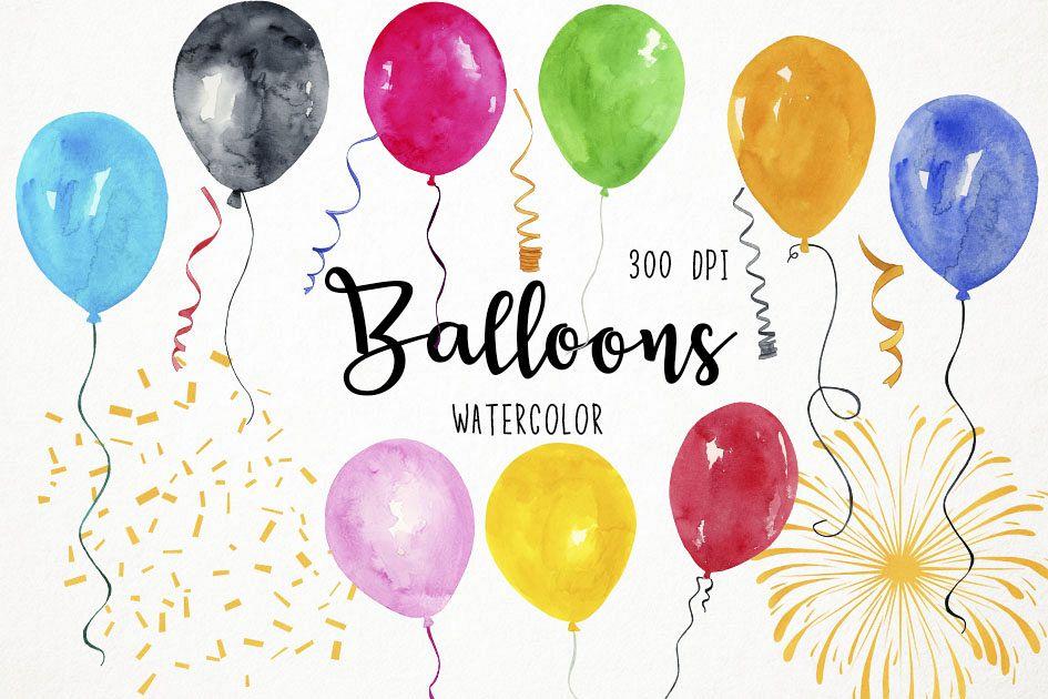 Watercolor Balloons Clipart, Balloons Clip art, Balloons PNG example image 1