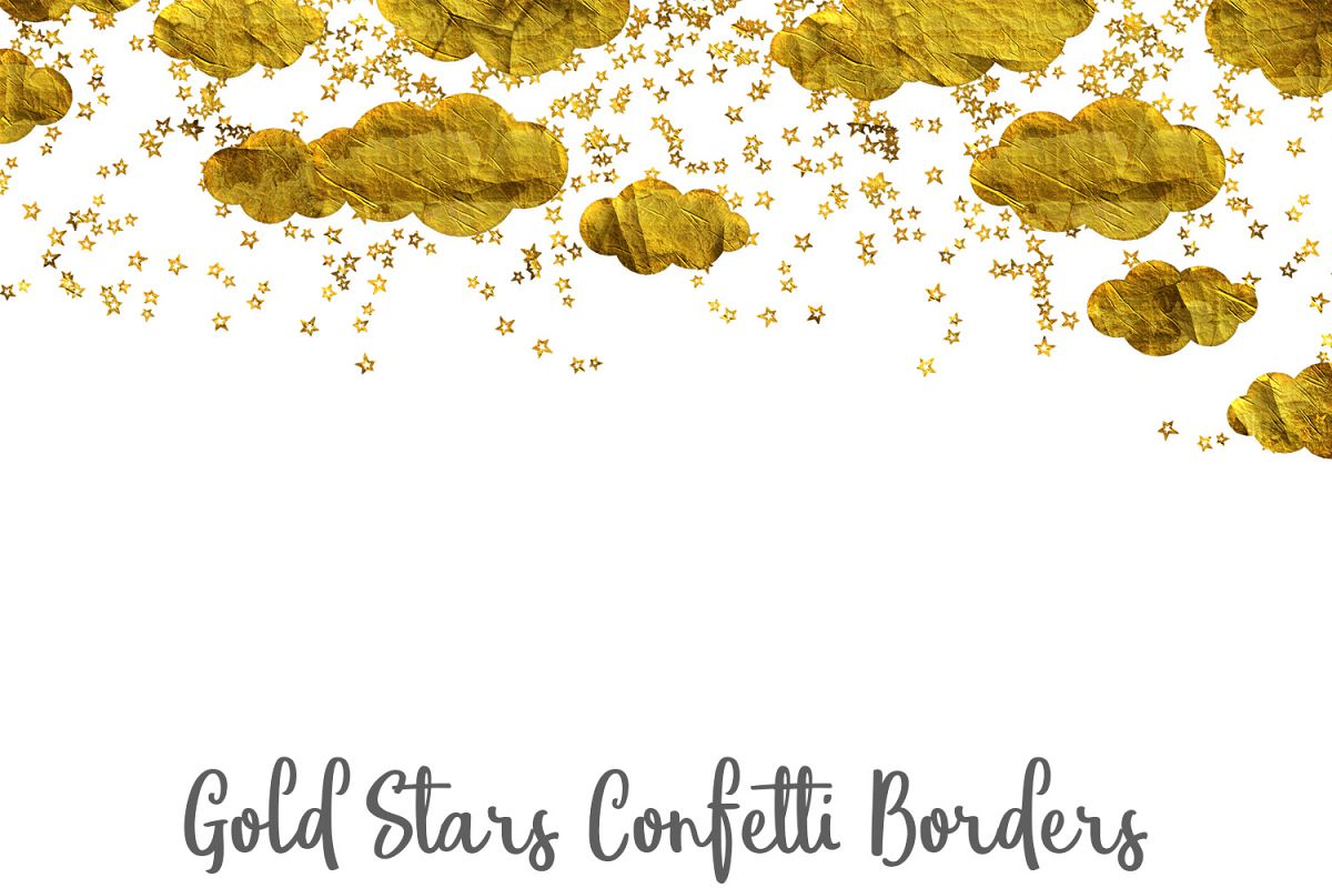 Gold Stars Confetti Borders Pack example image 1