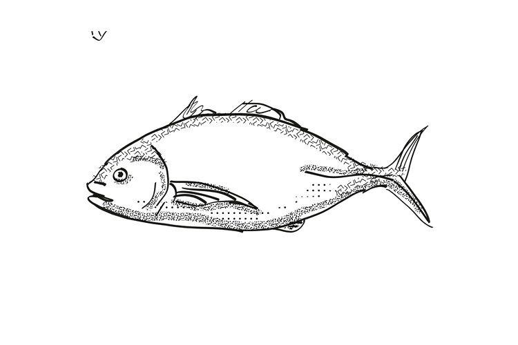 Trevally New Zealand Fish Cartoon Retro Drawing example image 1