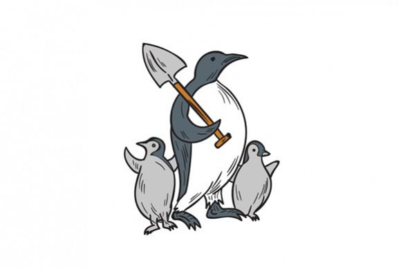 Penguin Holding Shovel With Chicks Drawing example image 1