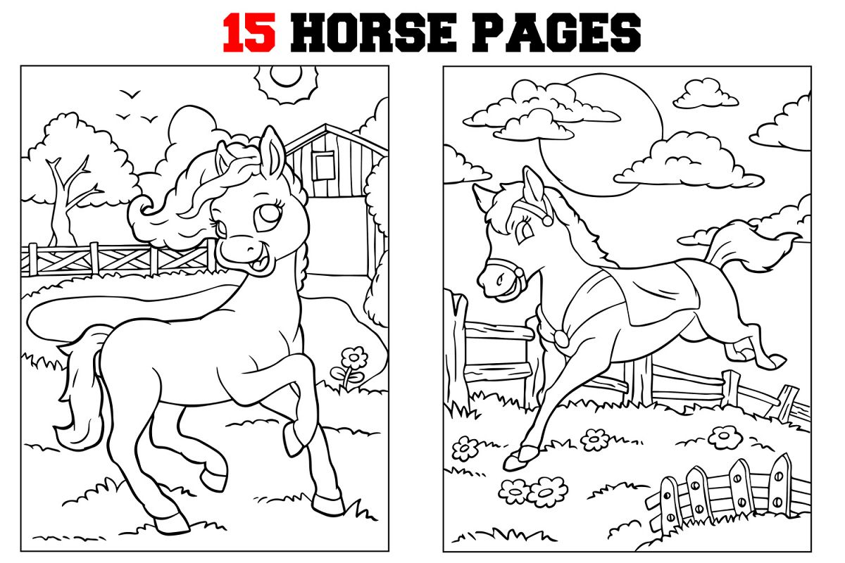 Coloring Pages For Kids - 15 Horse Coloring Pages example image 1
