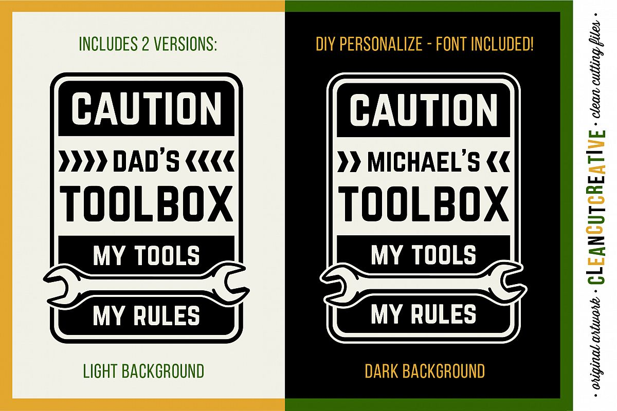 Mens Toolbox custom name decal - My Tools My Rules SVG file example image 1