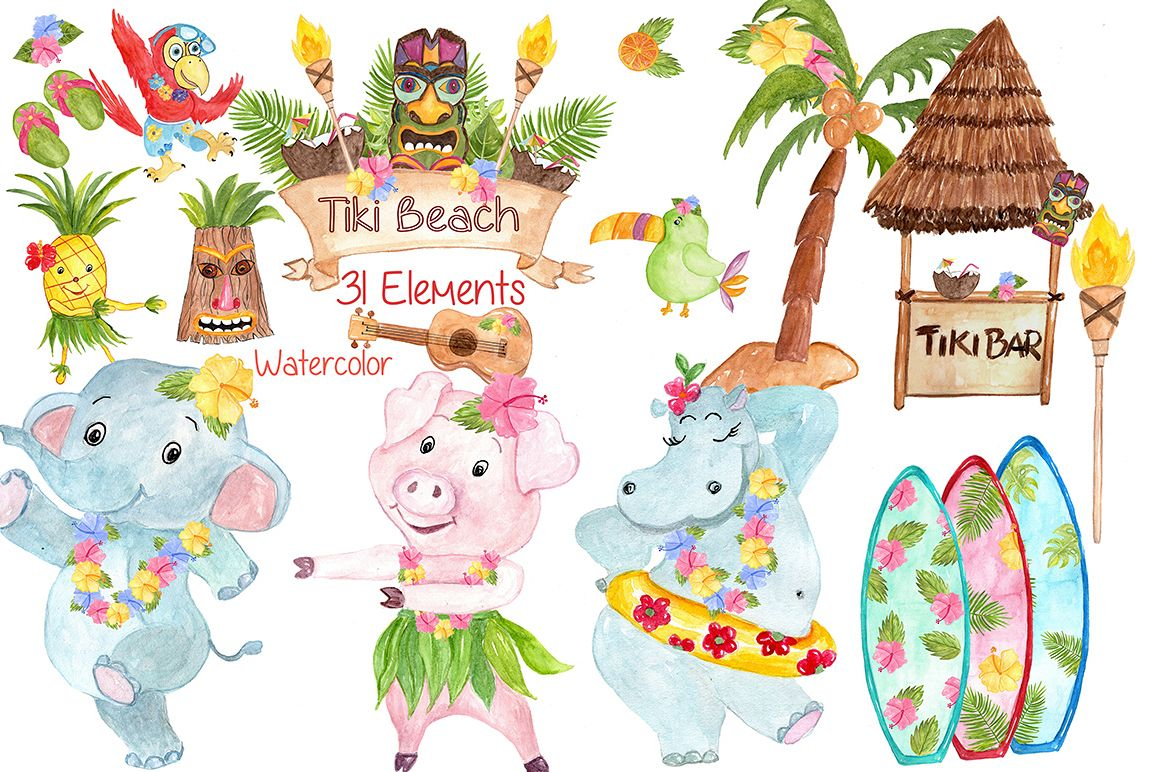 Watercolor Hawaii clipart example image 1