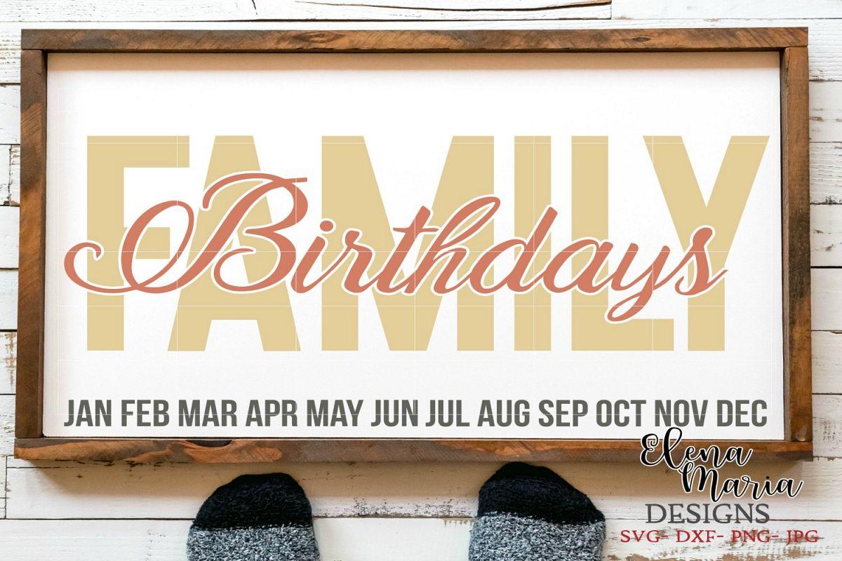 Calendar Design Diy : Family birthday calendar diy sign svg design bundles