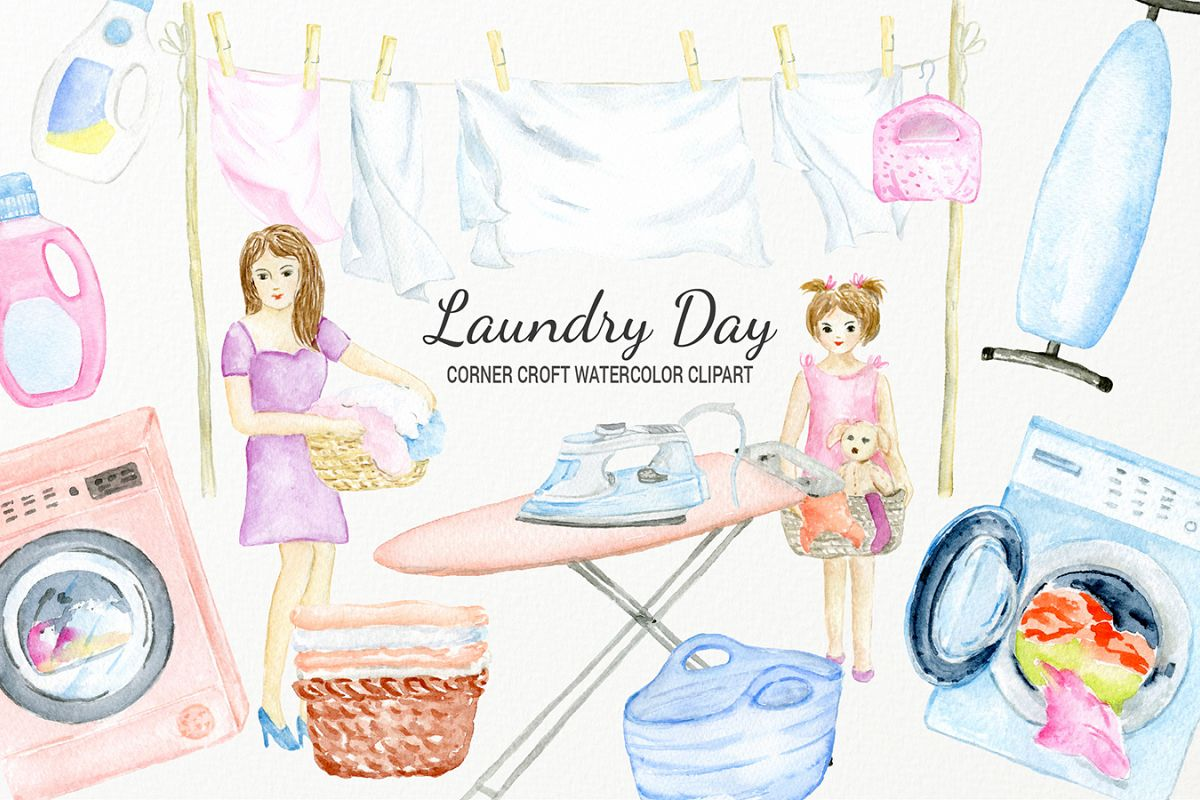 Watercolor laundry day clipart for instant download example image 1
