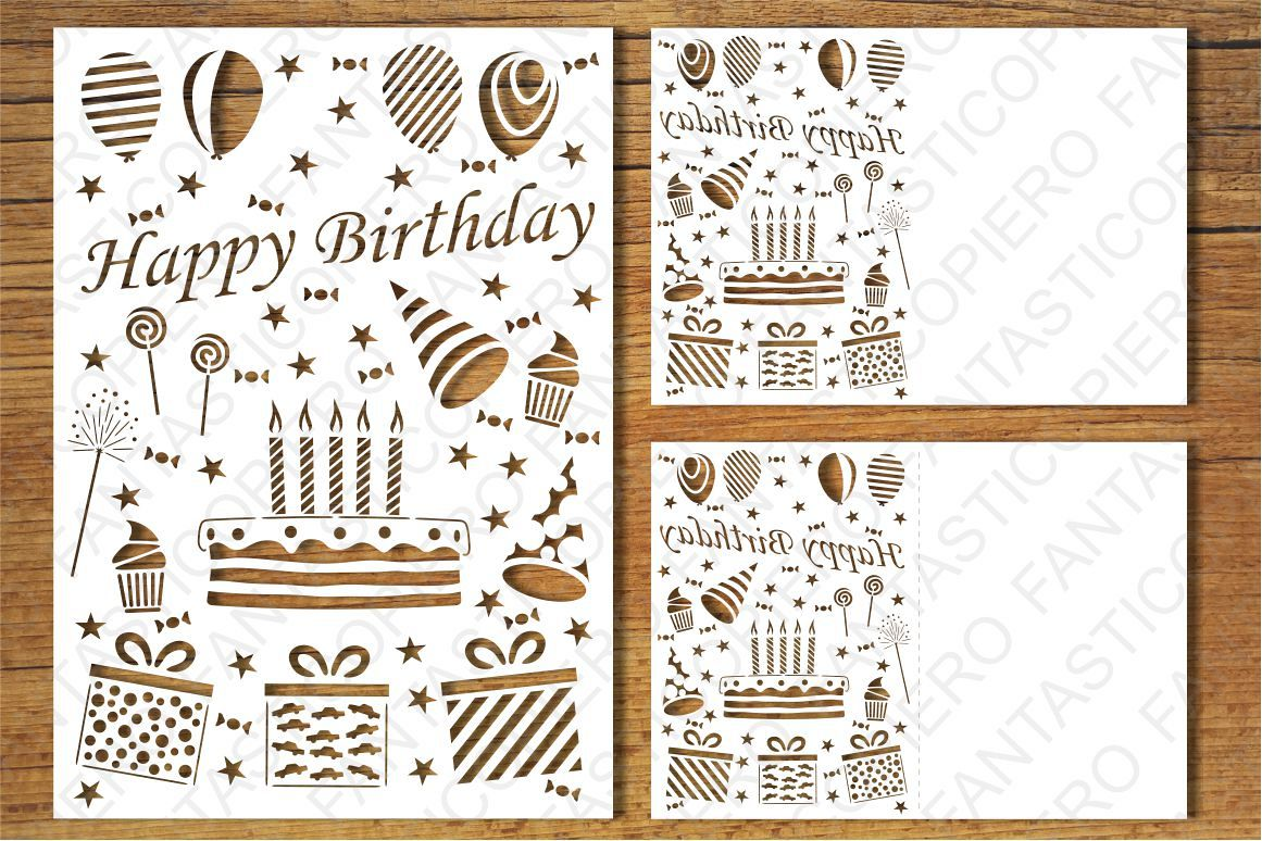 Happy Birthday 5 card SVG files for Silhouette and Cricut. example image 1