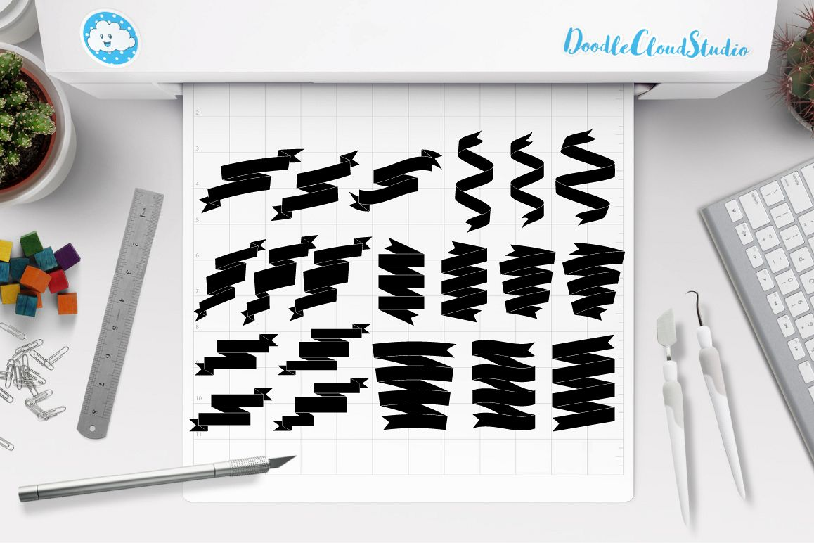Scroll Banner SVG, Ribbon banner SVG files for Silhouette Cameo and Cricut. Ribbon outline, Banner clipart PNG included, Flag and Ribbon example image 1