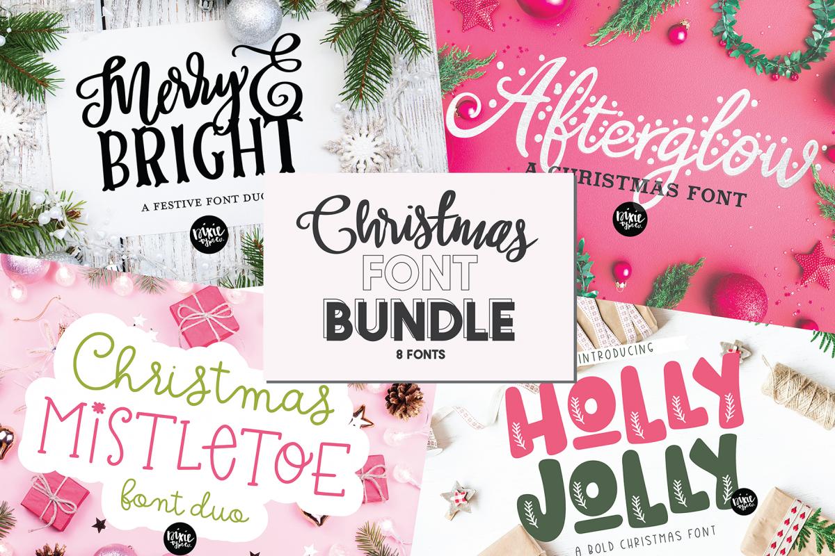 CHRISTMAS FONT BUNDLE - 4 Hand Lettered Christmas Fonts example image 1