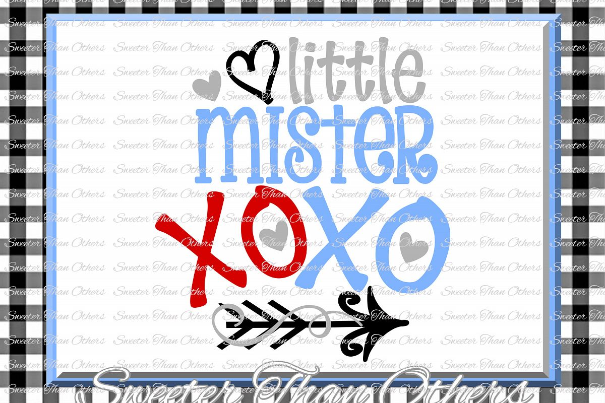 Little Mister XOXO Svg, Hugs and Kisses Svg example image 1