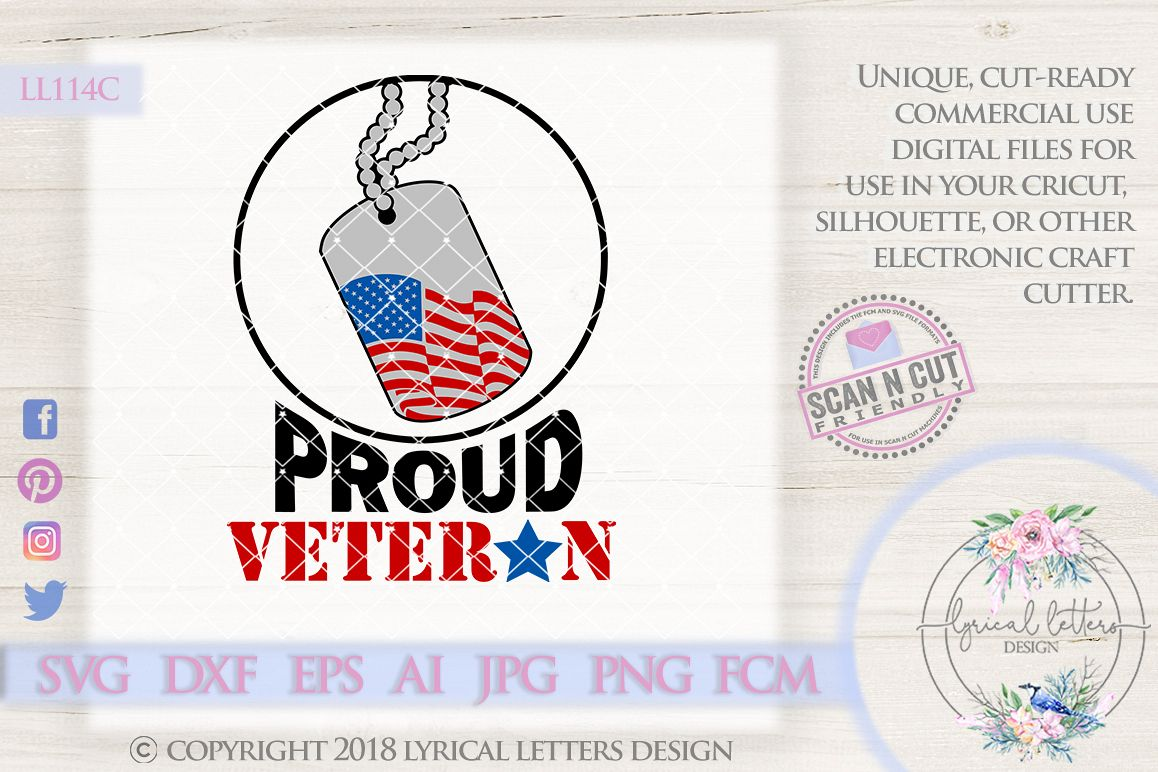 Proud Veteran with Dog Tag American Flag Patriotic Cutting File LL114C  SVG DXF  FCM EPS AI JPG PNG example image 1