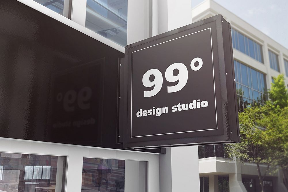 Building Advertising Square Sign Mockup example image 1