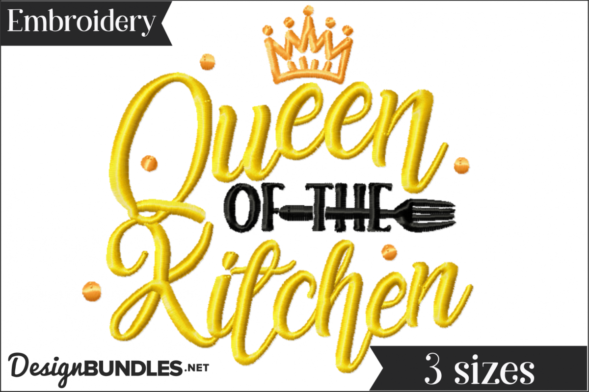 Queen of the Kitchen Embroidery Design example image 1