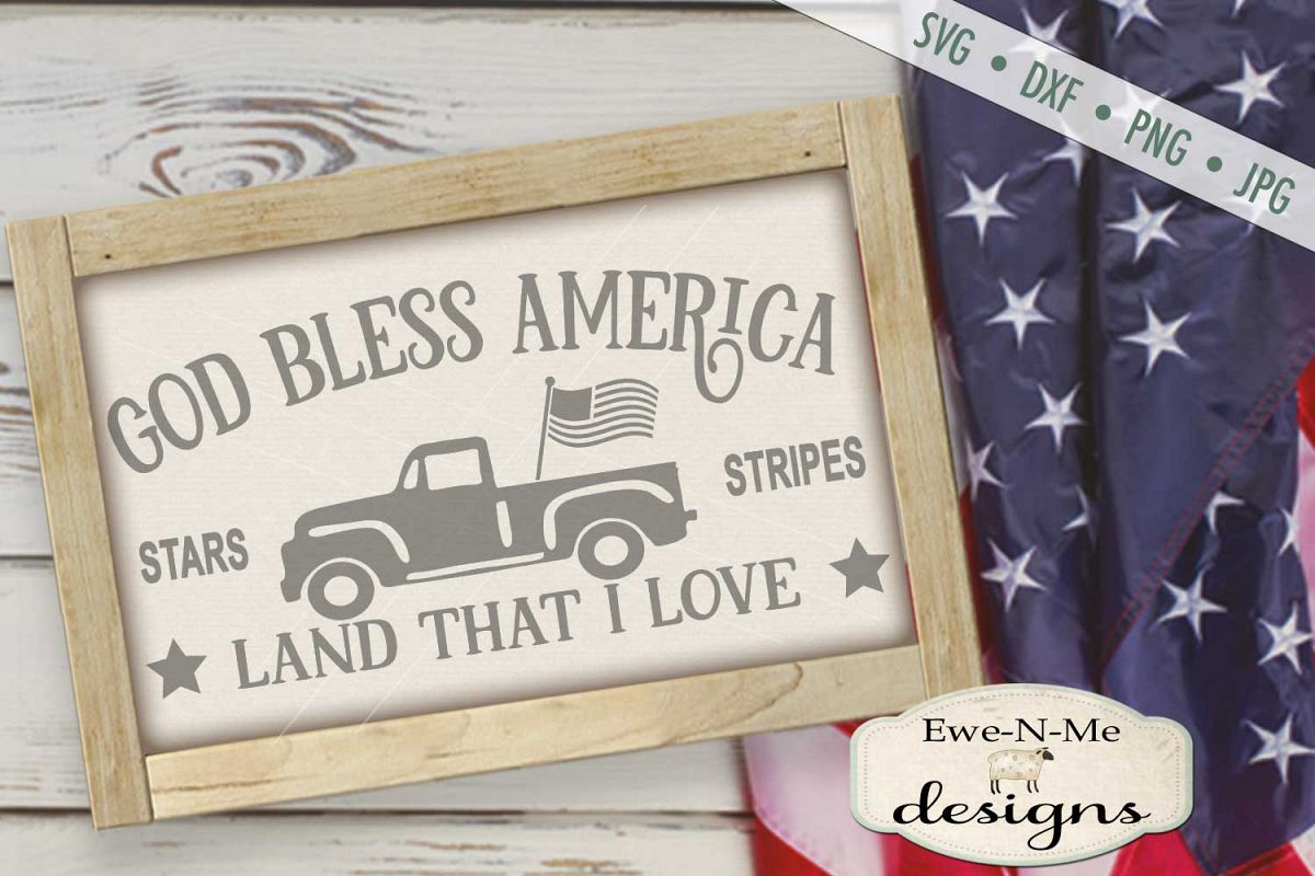 God Bless America Vintage Truck SVG DXF Files example image 1
