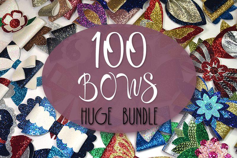 Hair bows template SVG bundle, 100 bows SVG huge bundle example image 1