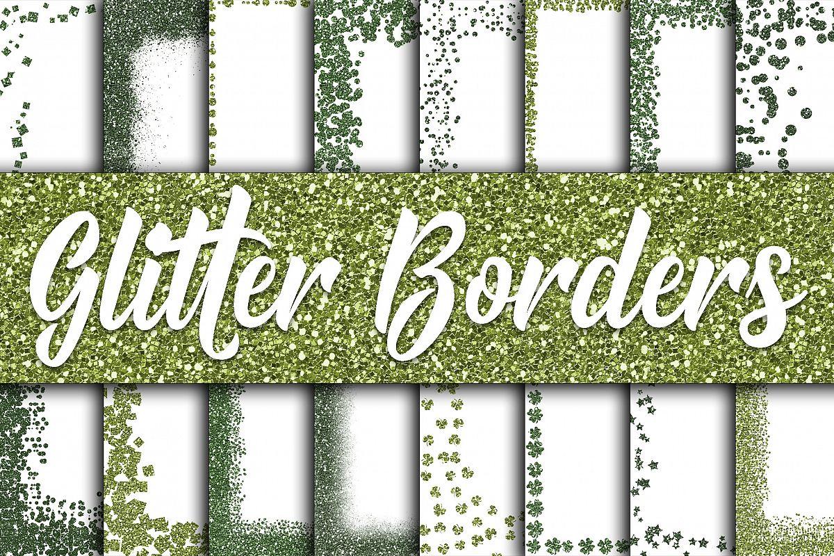 St Patricks Day Glitter Borders Digital Paper example image 1