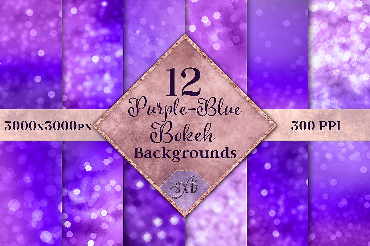 Purple-Blue Bokeh Backgrounds - 12 Image Textures Set example image 1