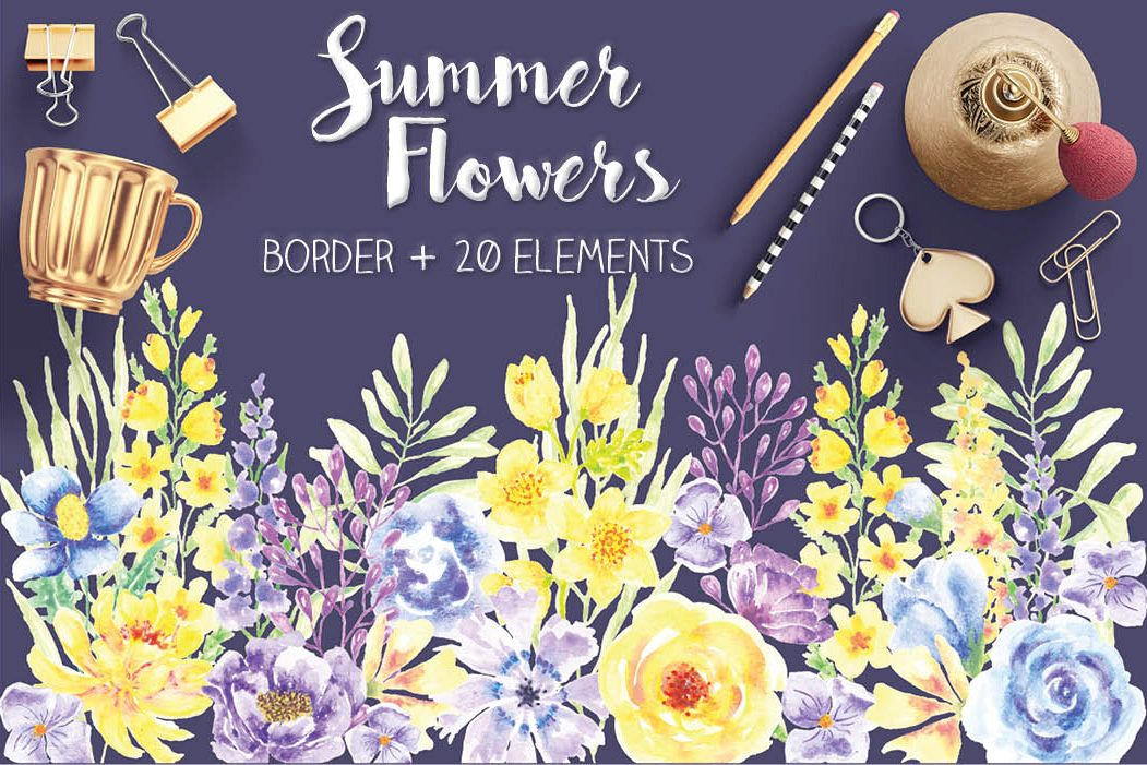 'Summer Flowers': border plus watercolor elements example image 1
