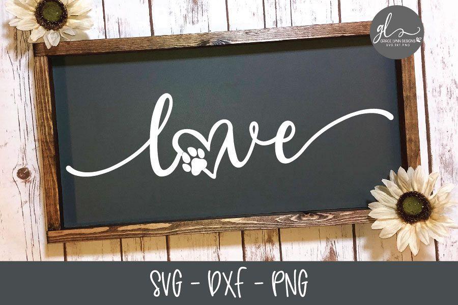 Love Paw Print Svg Cut File