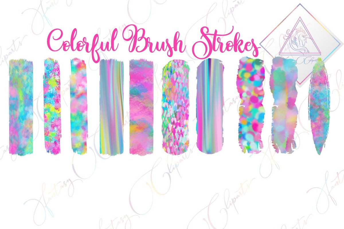 Colorful Brush Strokes Clipart example image 1