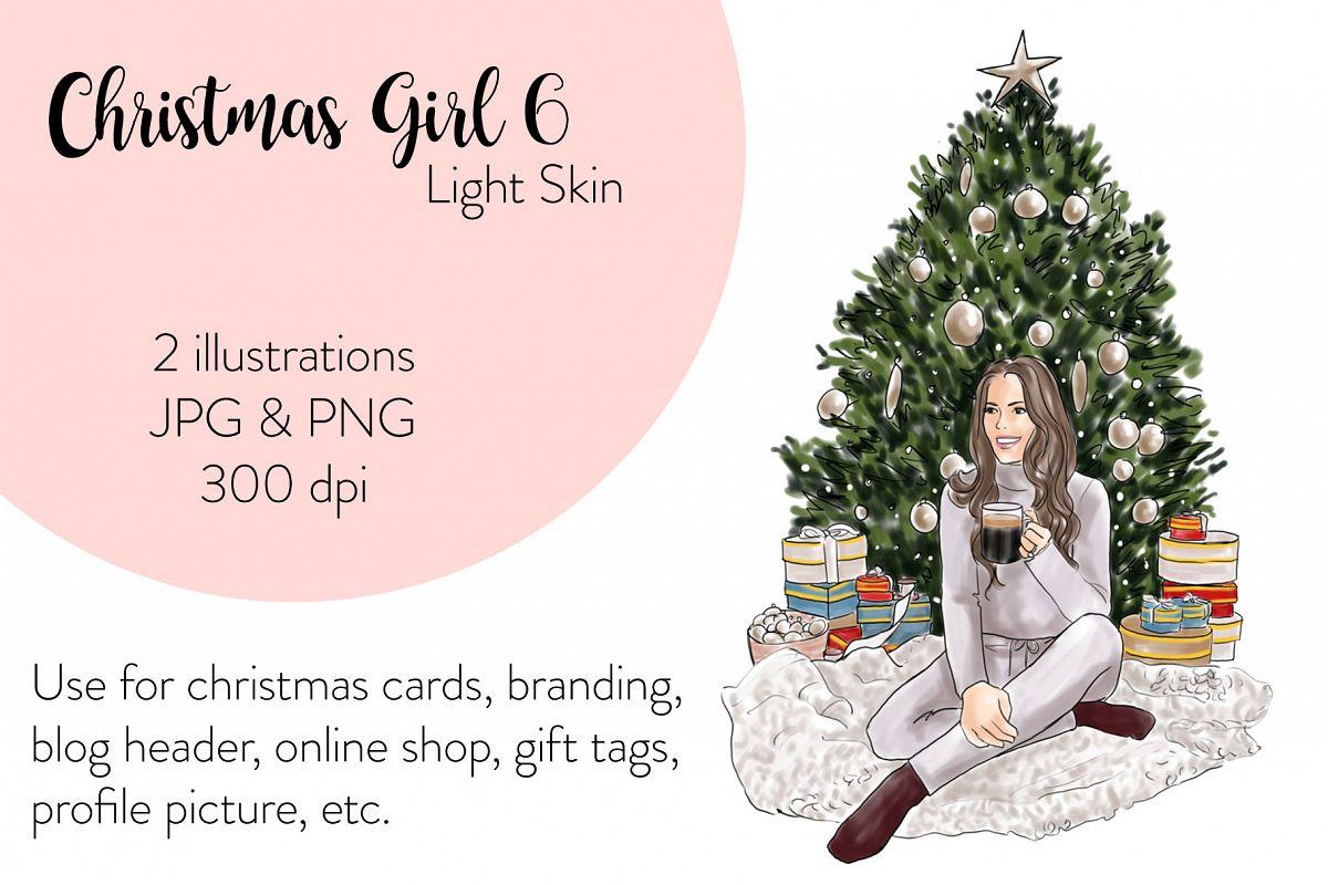 Fashion illustration - Christmas Girl 6 - Light Skin example image 1