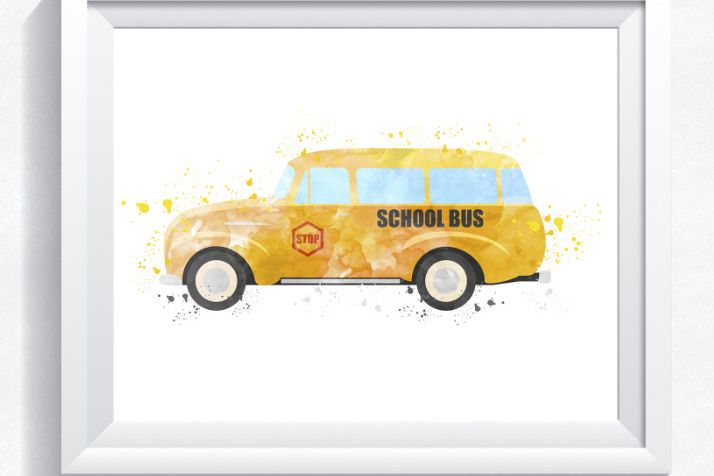 Yellow School Bus Printable Bus Wall Art Yellow Bus Print Transport