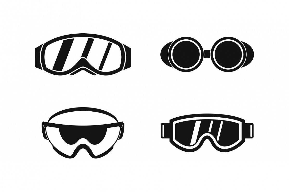 Protect glasses icon set, simple style example image 1