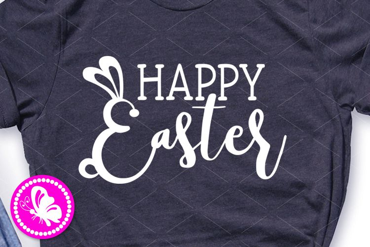 Happy Easter svg Girls shirt Baby boy design Bunnie clipart example image 1