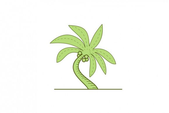 Curved Palm Tree Mono Line example image 1