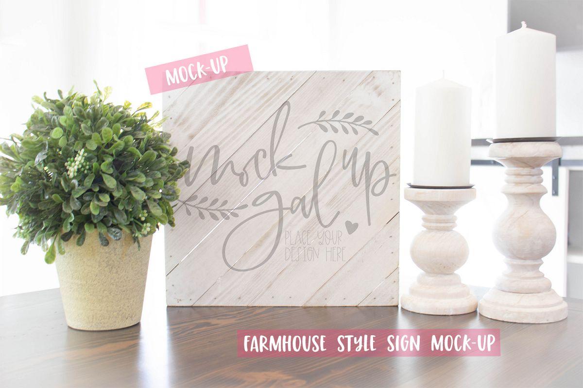 Farmhouse Style Sign Mock Up - White Wood Sign Mockup example image 1