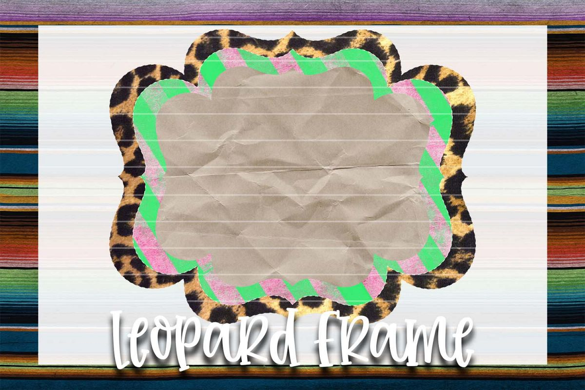 Pink & Green Leopard Frame Background Element example image 1