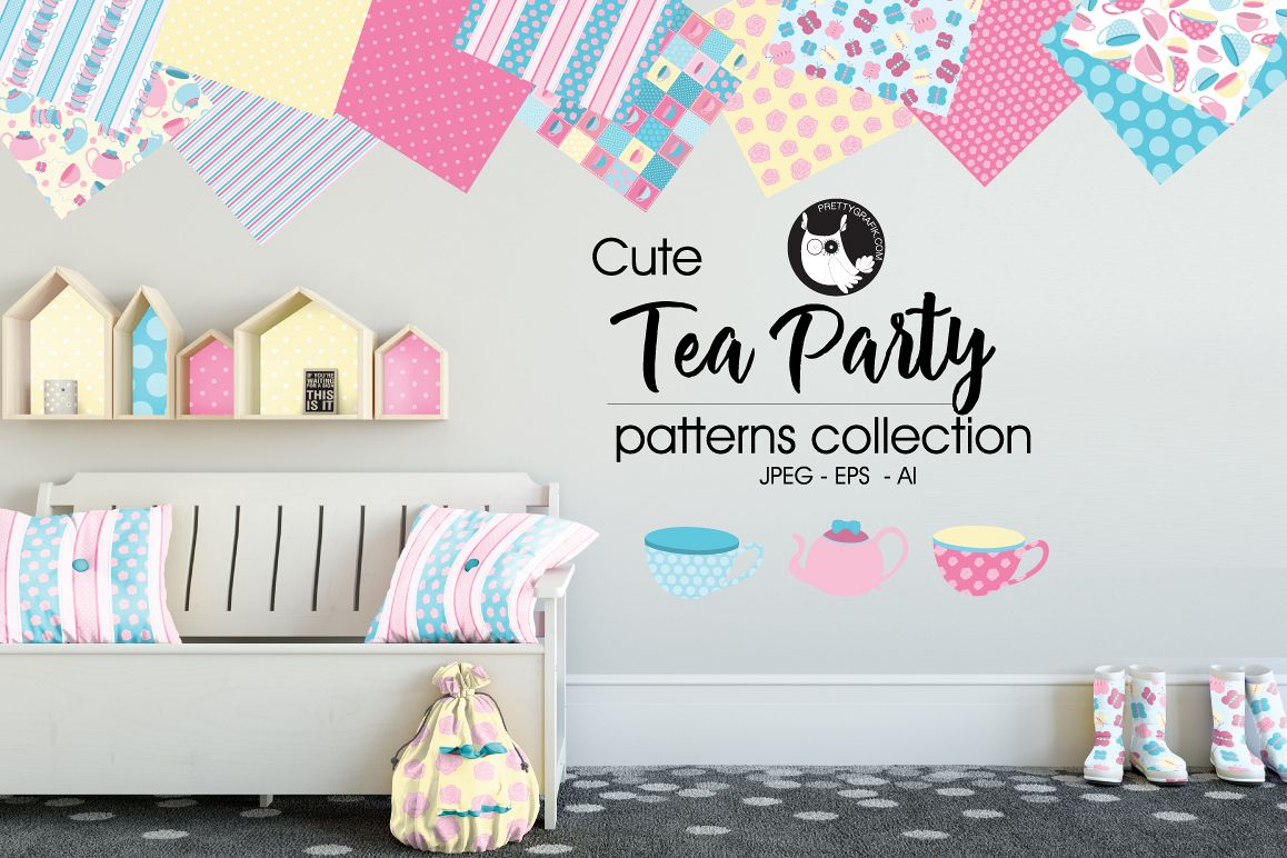 Tea prty, digital papers example image 1