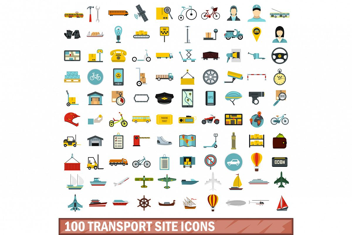 100 transport site icons set, flat style example image 1