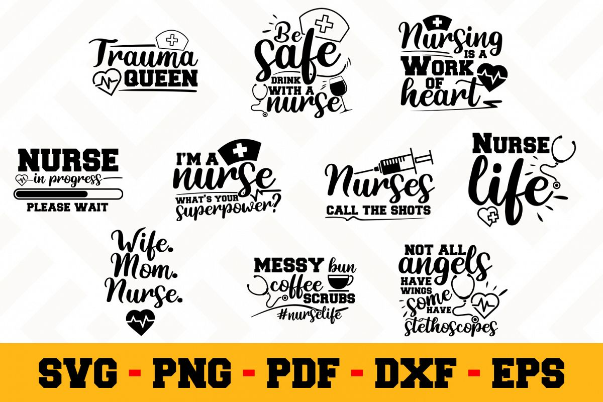 Nurse 10 Designs Pack | Nurse SVG Bundle example image 1