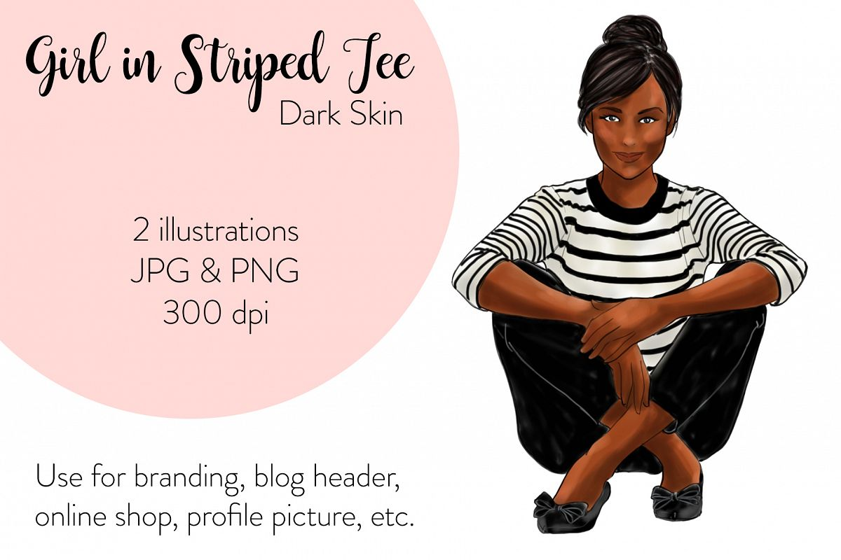 Fashion illustration - Girls in striped T - Dark Skin example image 1