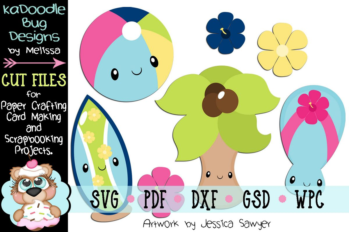 Kawaii Beach Cut File - SVG PDF DXF GSD WPC example image 1