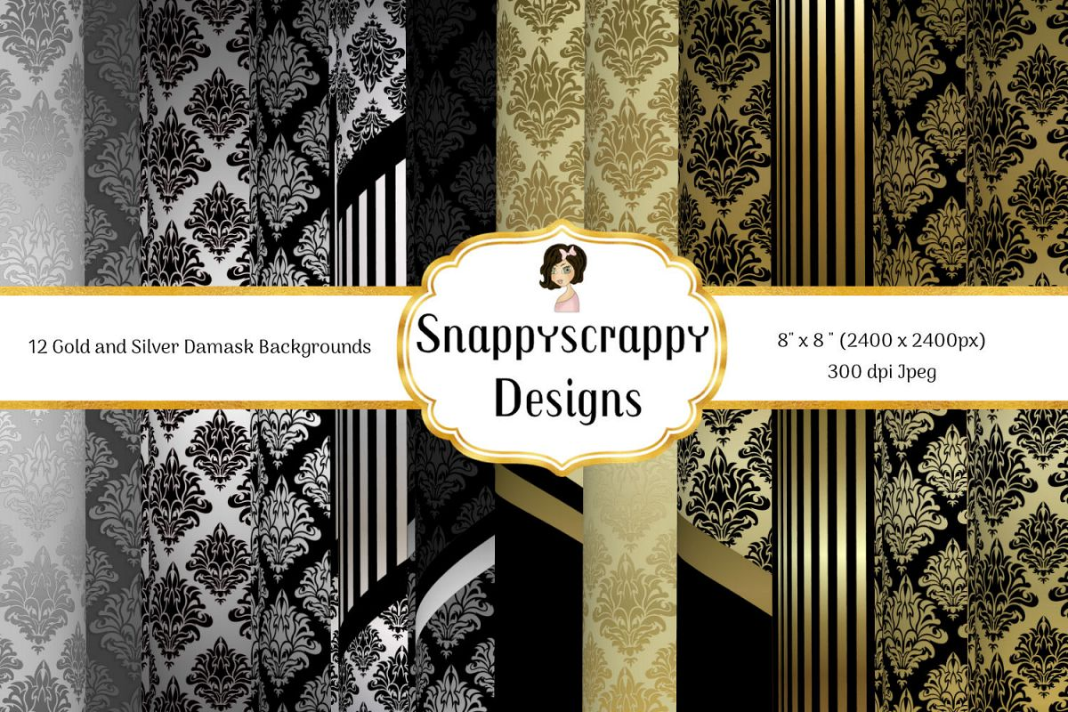 Black and Gold Decorative Background Paper Pack example image 1
