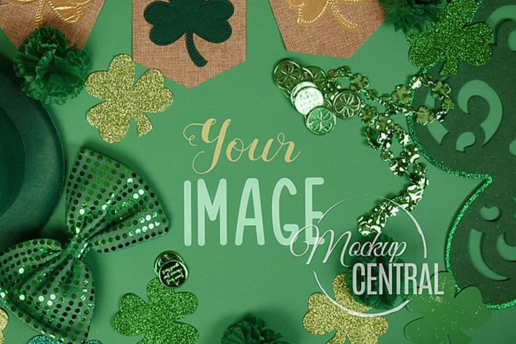 St Patrick's Day Green Background Top View Mockup JPG example image 1