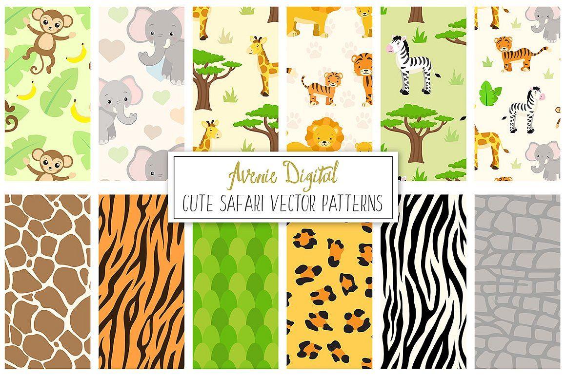 Safari Animals Digital Paper and Vector Patterns example image 1