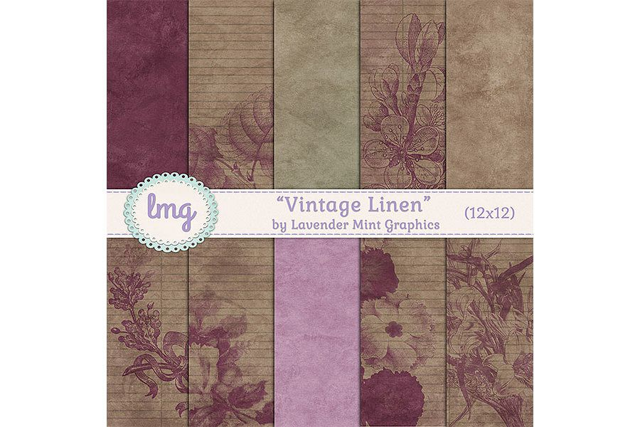 Vintage Linen Digital Papers example image