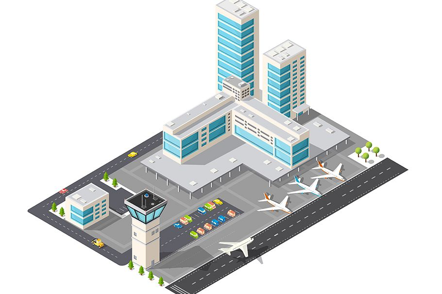 Isometric map of the city airport example image 1