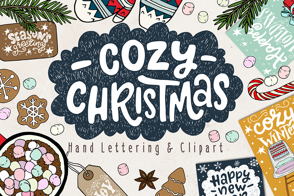 Cozy Christmas Lettering & Clipart example image 1