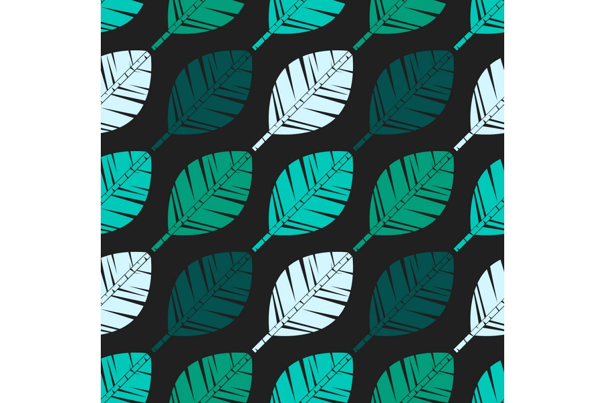 Decorative leaves. Set of 10 seamless patterns. example image 1