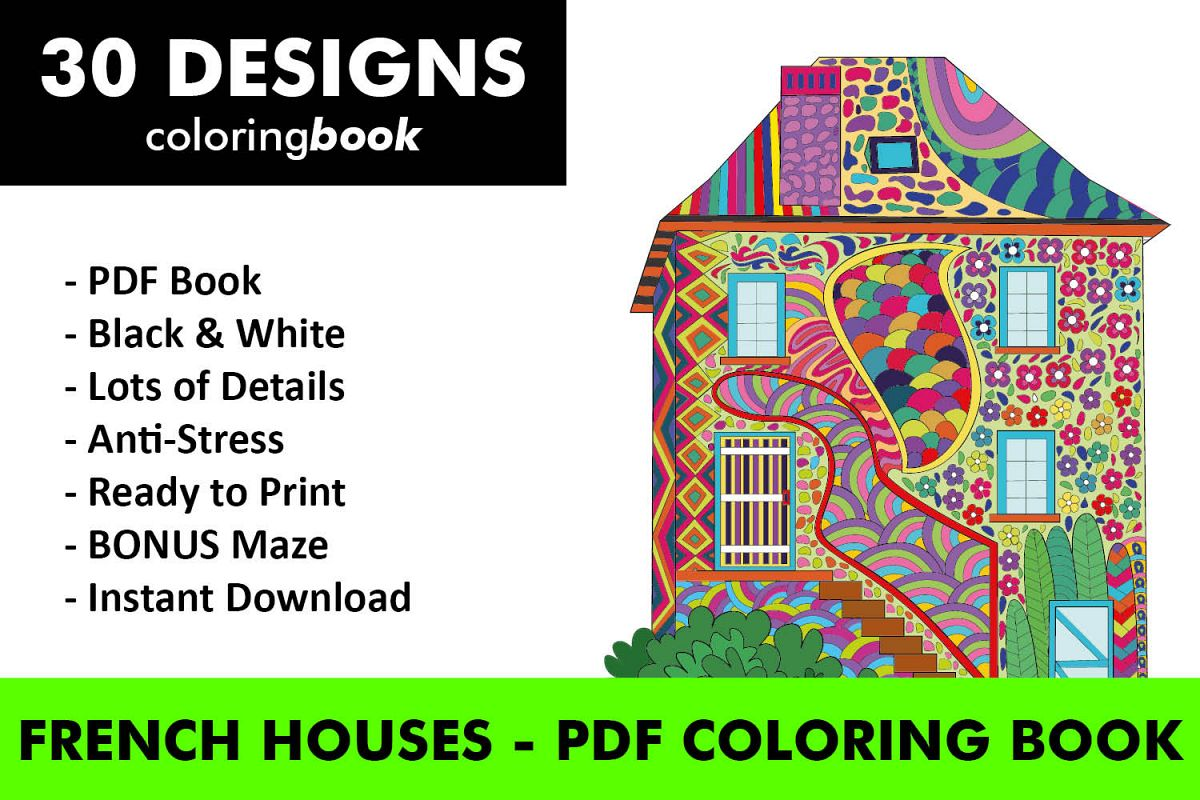 French houses coloring book 30 unique coloring pages example image 1