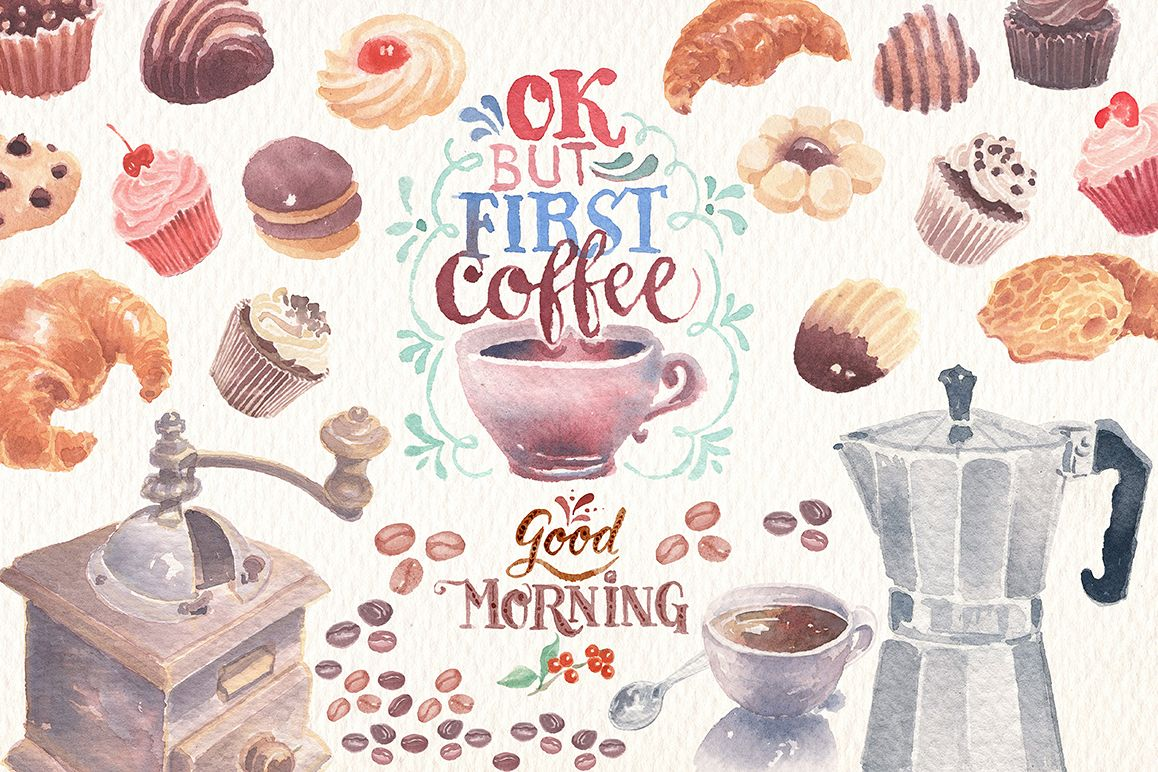 watercolor coffee clipart set