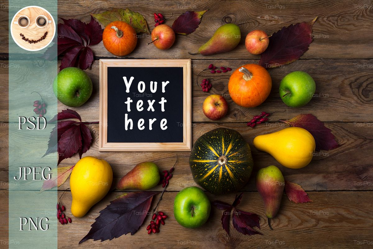 Rustic square frame mockup with pumpkins, pears example image 1