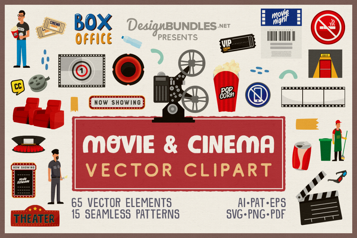 Movie & Cinema Vector Clipart and Seamless Patterns example image 1