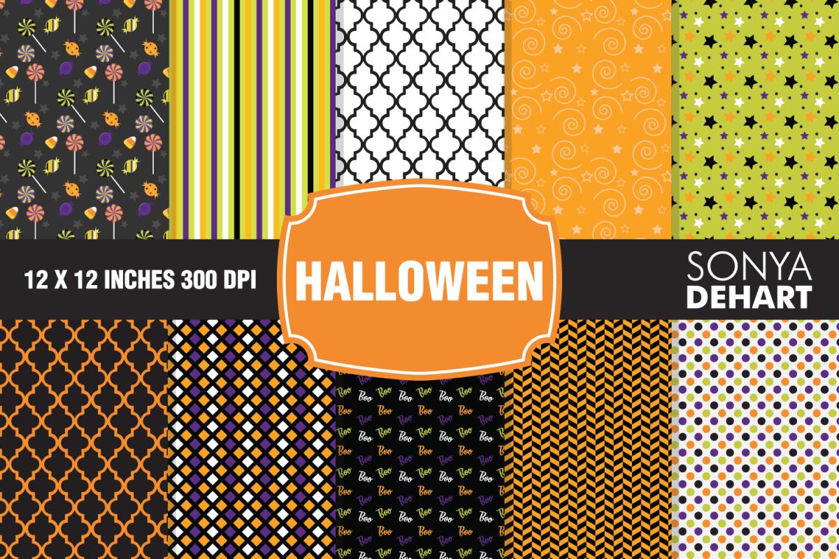Halloween Digital Paper Pattern Pack example image 1