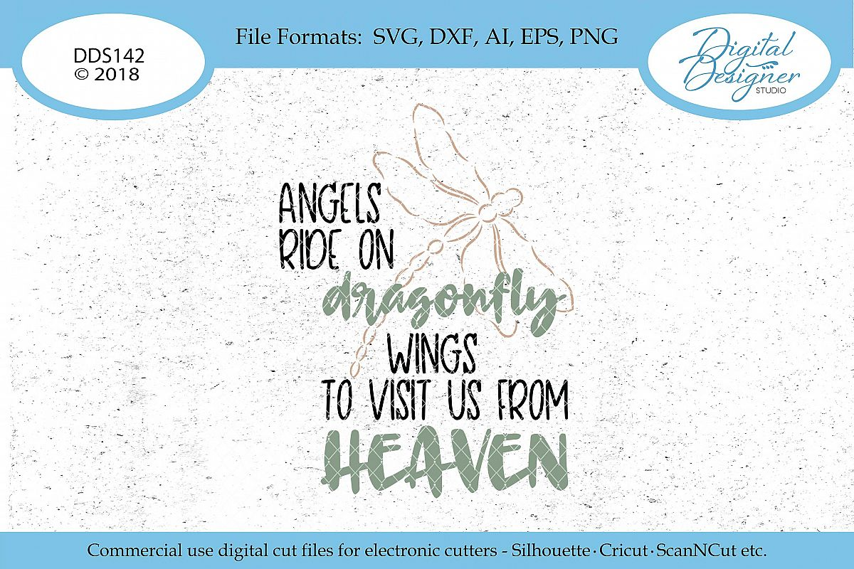 Angels Ride On Dragonfly Wings Svg Ai Eps Dxf Png Cut File